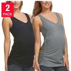 Ladies 2 Pk Maternity Tagless Long Length V-neck T